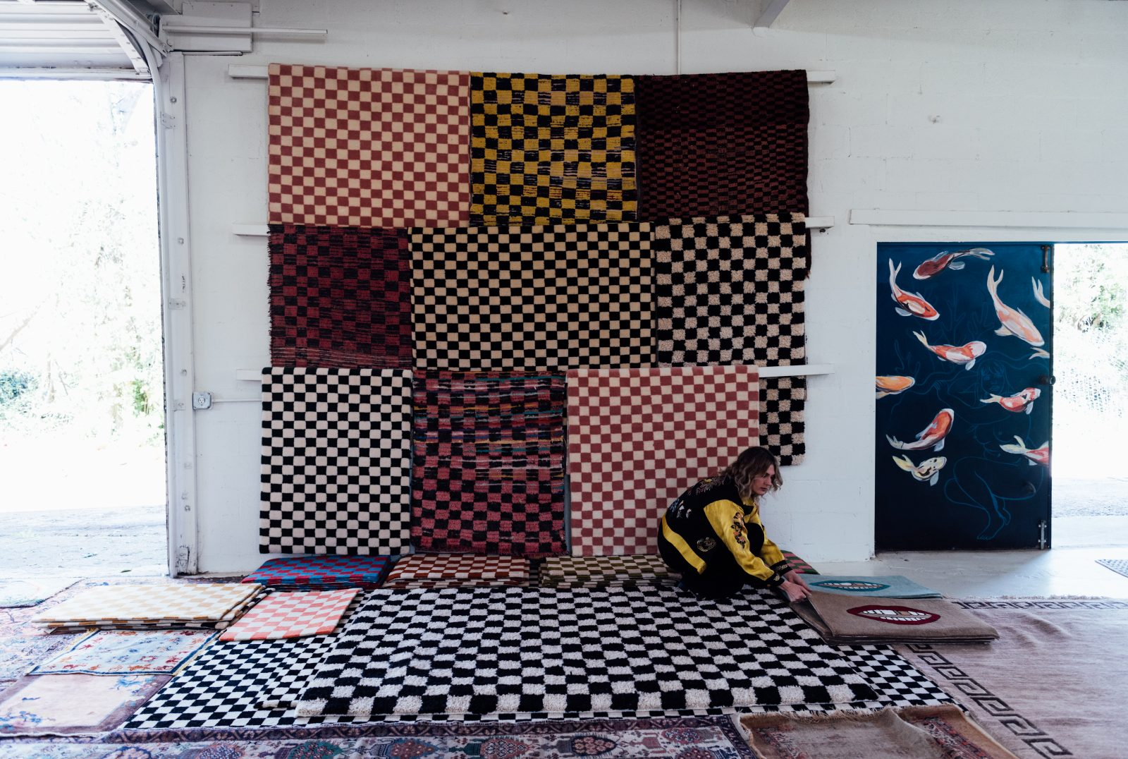 Checkered rugs from The Relic Home in Nashville, TN