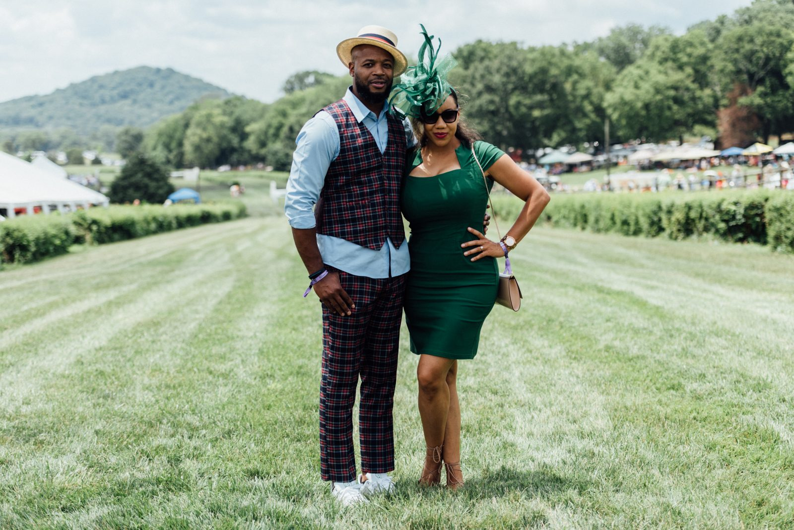 Michael and Alisha James at the 2021 Tennessee Steeplechase Outdoor Fashion show, featured in the Nashville Edit