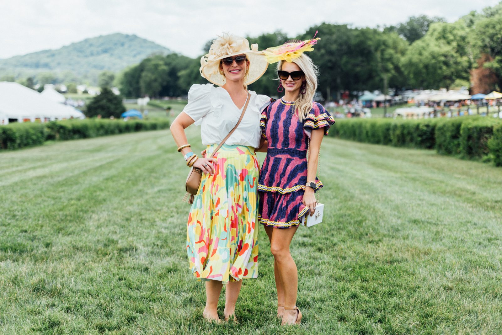 Ashley Travis and Hillary Howorth at the 2021 Steeplechase Outdoor Fashion show presented by The Nashville Edit