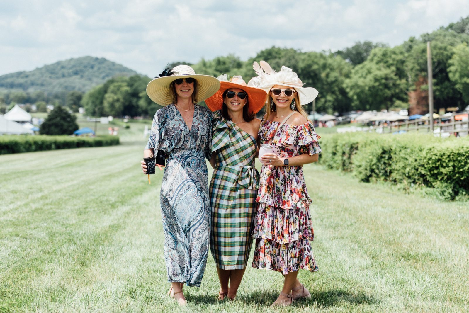 trendsetters Sarah Goricki, Michelle Carlson, and Libby Scanlan at the Tennessee Steeplechase outdoor fashion show 2021