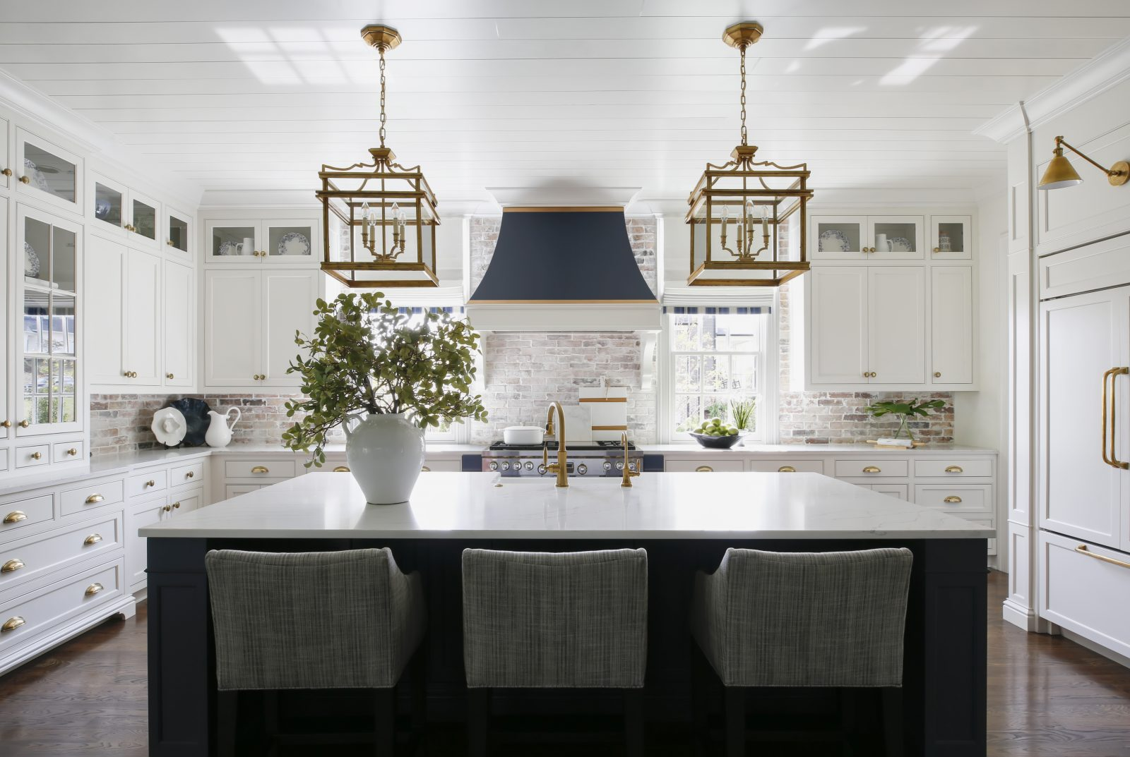 Blue, gold and white themed kitchen in Nashville TN, by Davis Properties of TN.