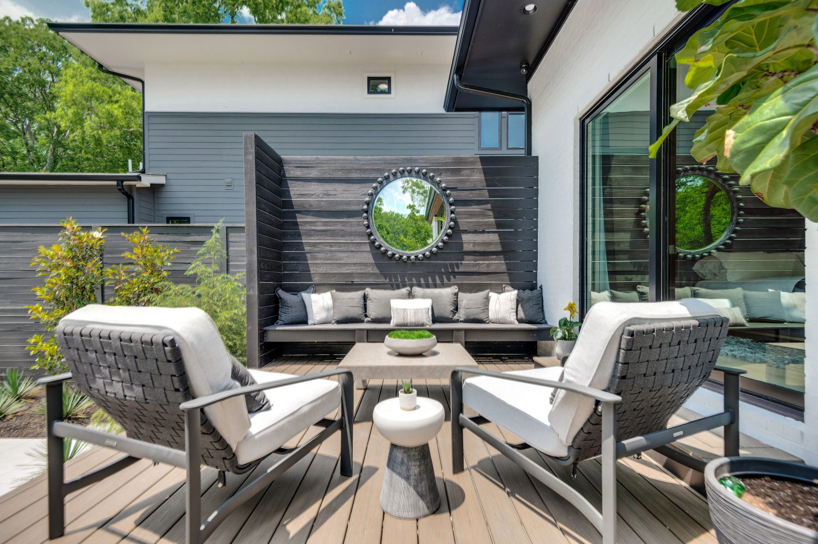 Outdoor patio furniture on this backyard lounge in Green Hills TN