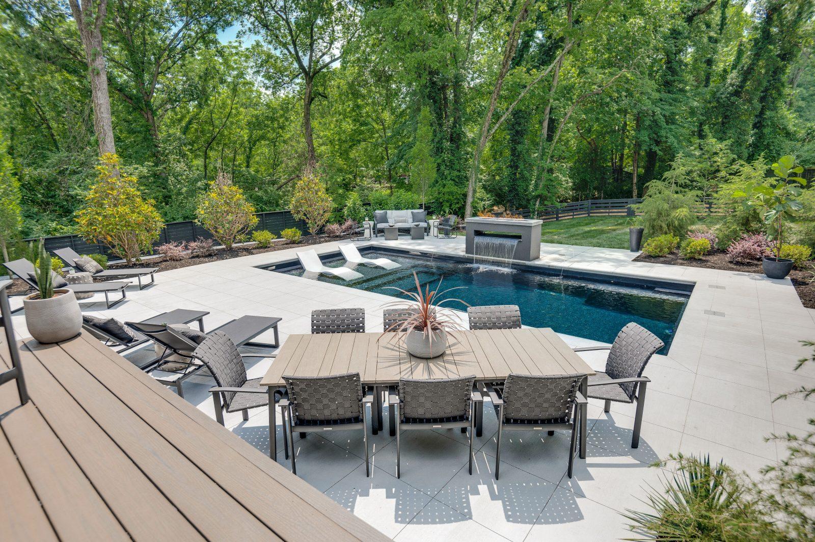 backyard pool and patio in green hills tn