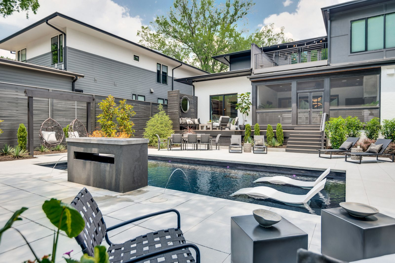 Outdoor pool is the main feature of this backyard oasis in Nashville TN.
