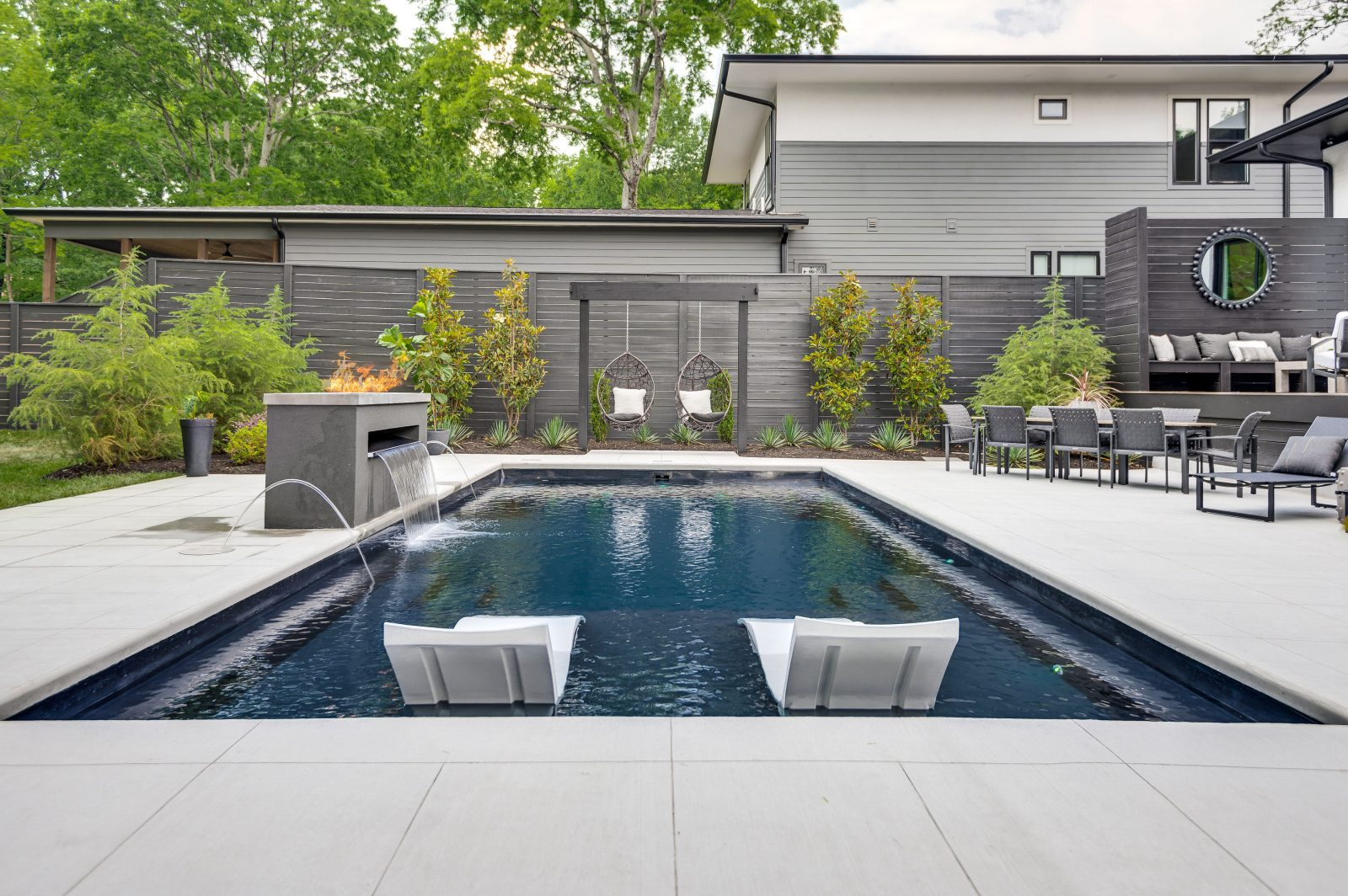 Outdoor backyard pool at the featured Green Hills, TN Hideaway.