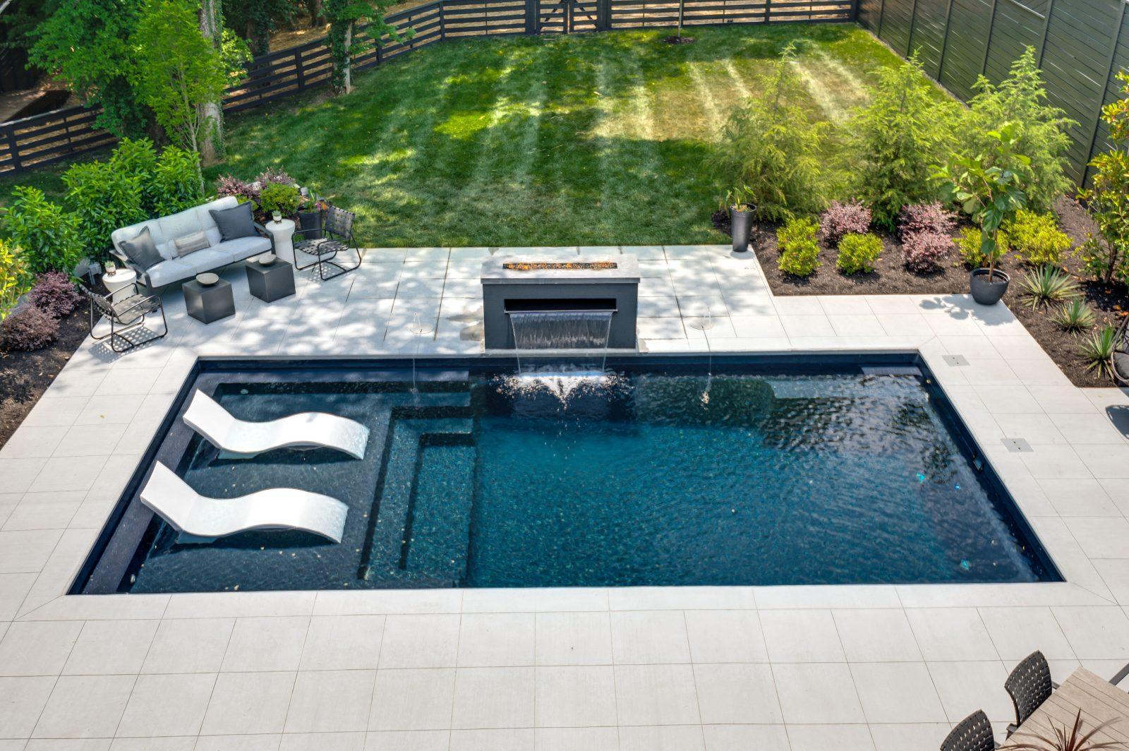 Backyard pool and greenspace in Green Hills, TN