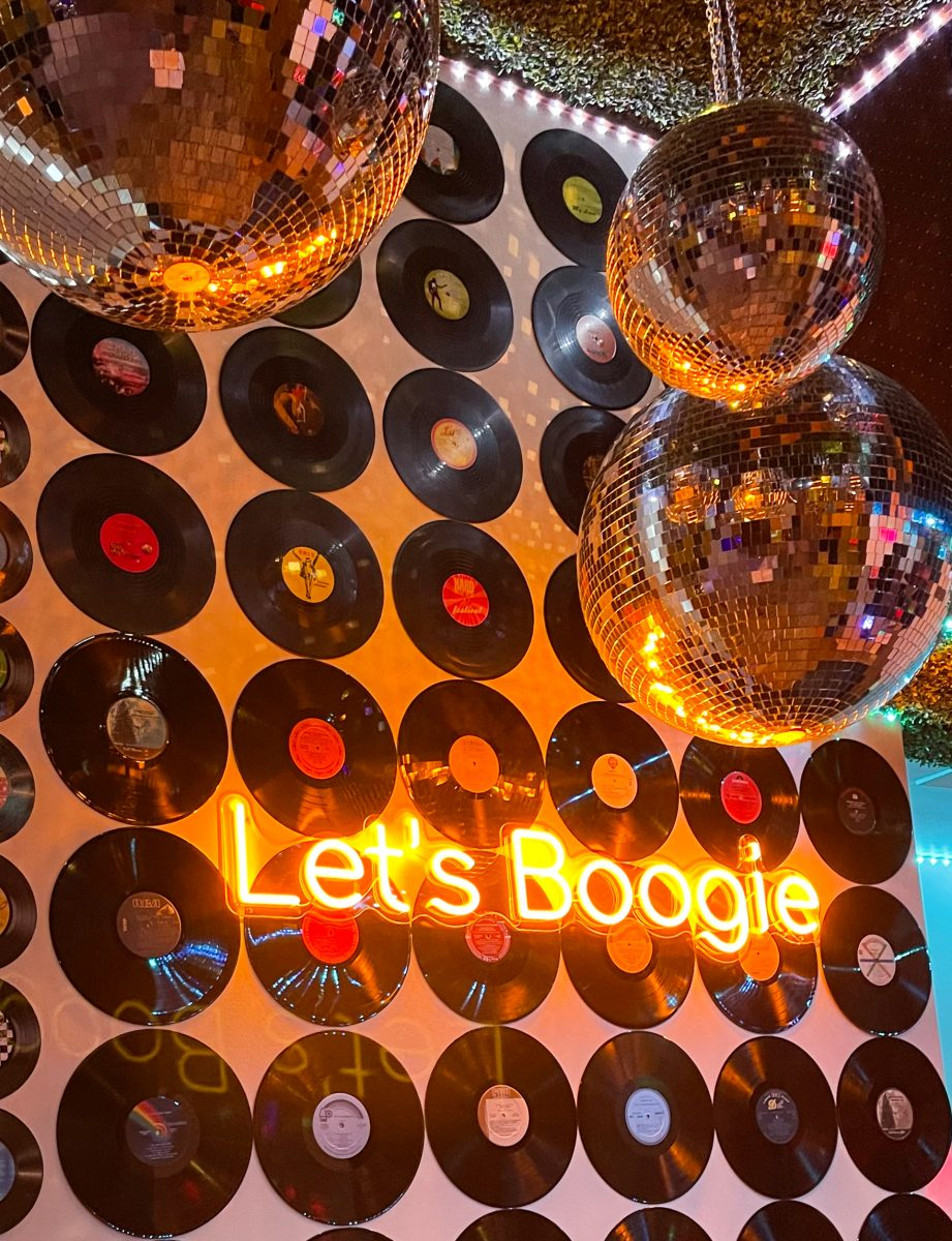 70's disco-themed indoor decorations at the Fairlane Hotel rooftop lounge in Nashville, TN