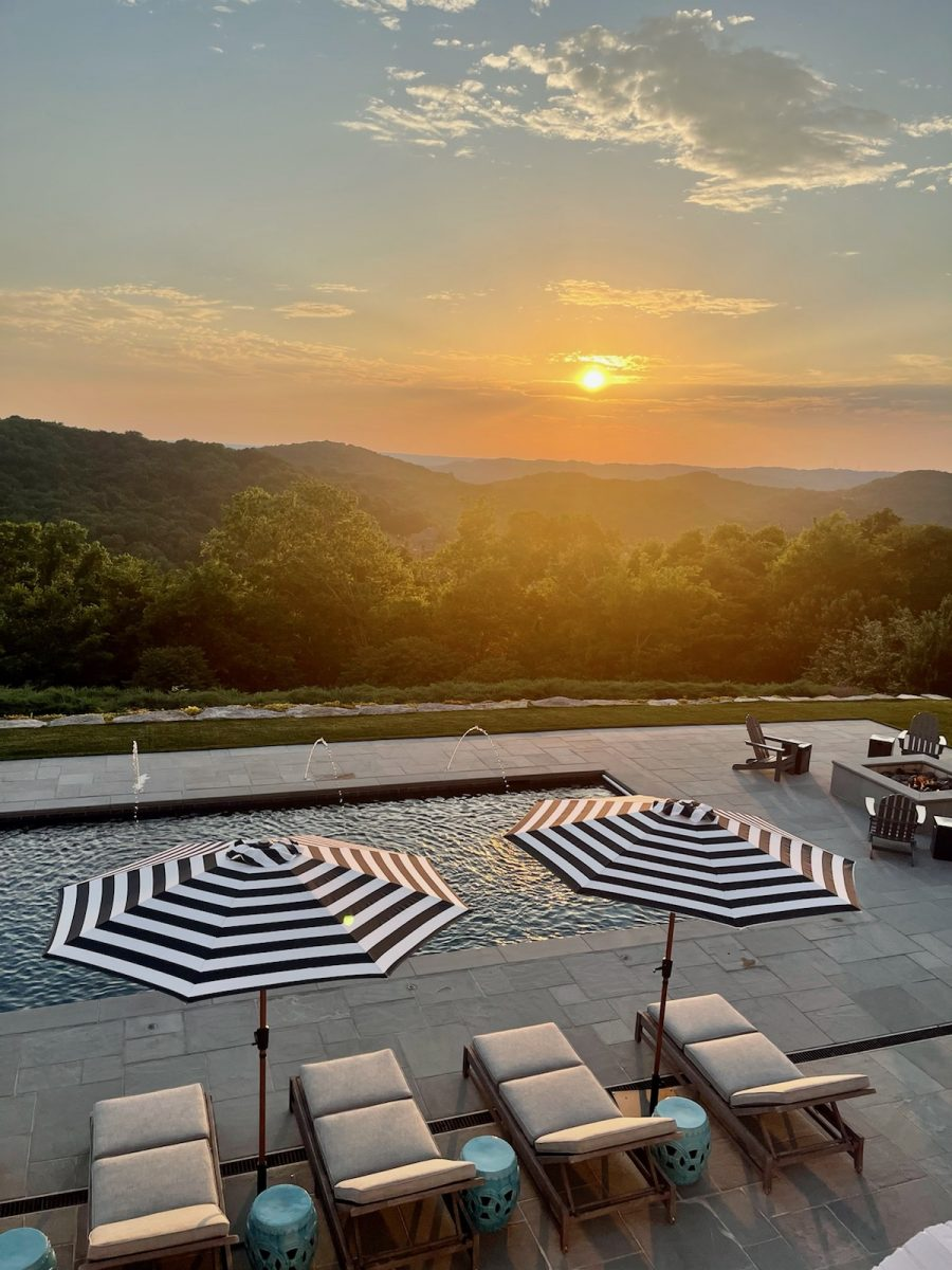 Hill top pool at sunset with a view of the tennessee hills near Franklin, TN