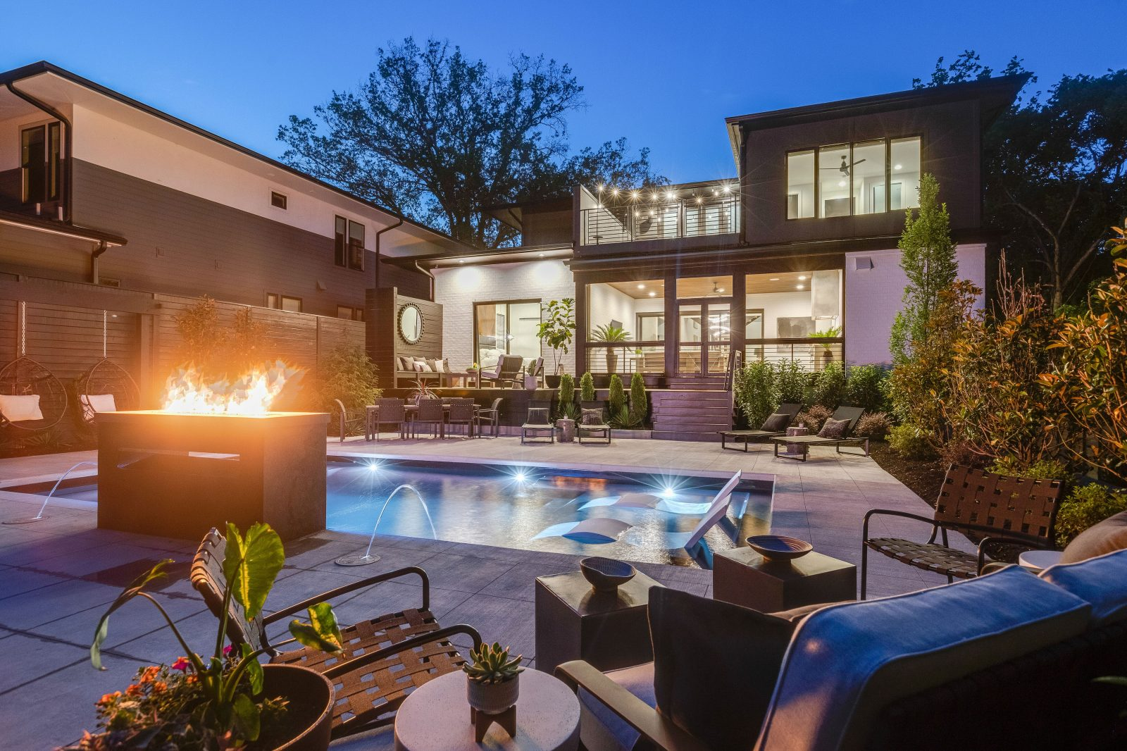 Backyard Bliss by the Nashville Edit, Green Hills Tennessee, hideaway at night
