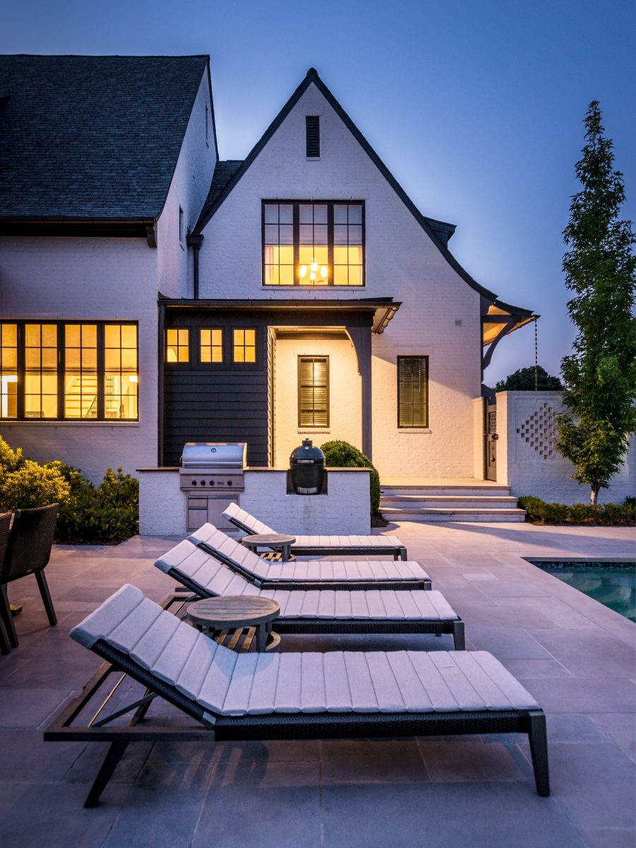 Backyard pool deck at Alan and Heather Looney's residence in Nashville TN. Furniture by Janus et Cie