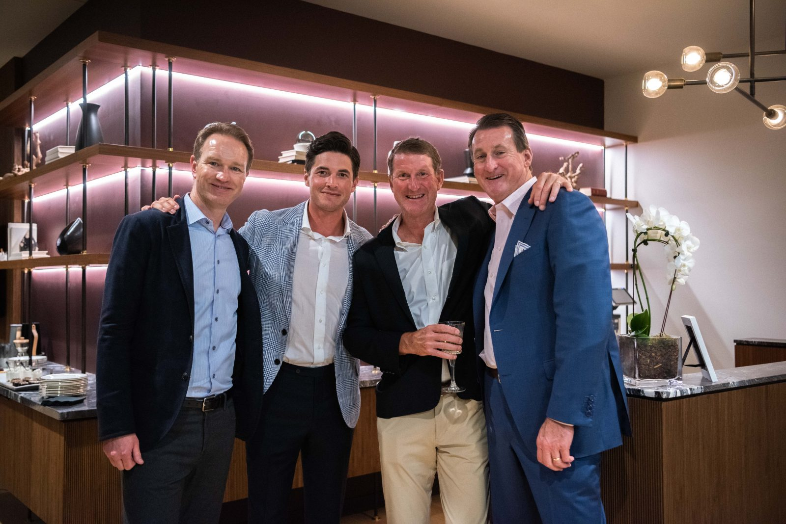 Brian Heinrichs, David Thompson, Tom Worcester, and Gaylon Lawrence heitz wine tasting fourth capital and the nashville edit seated dinner at fourth capital in downtown nashville for music city grand prix