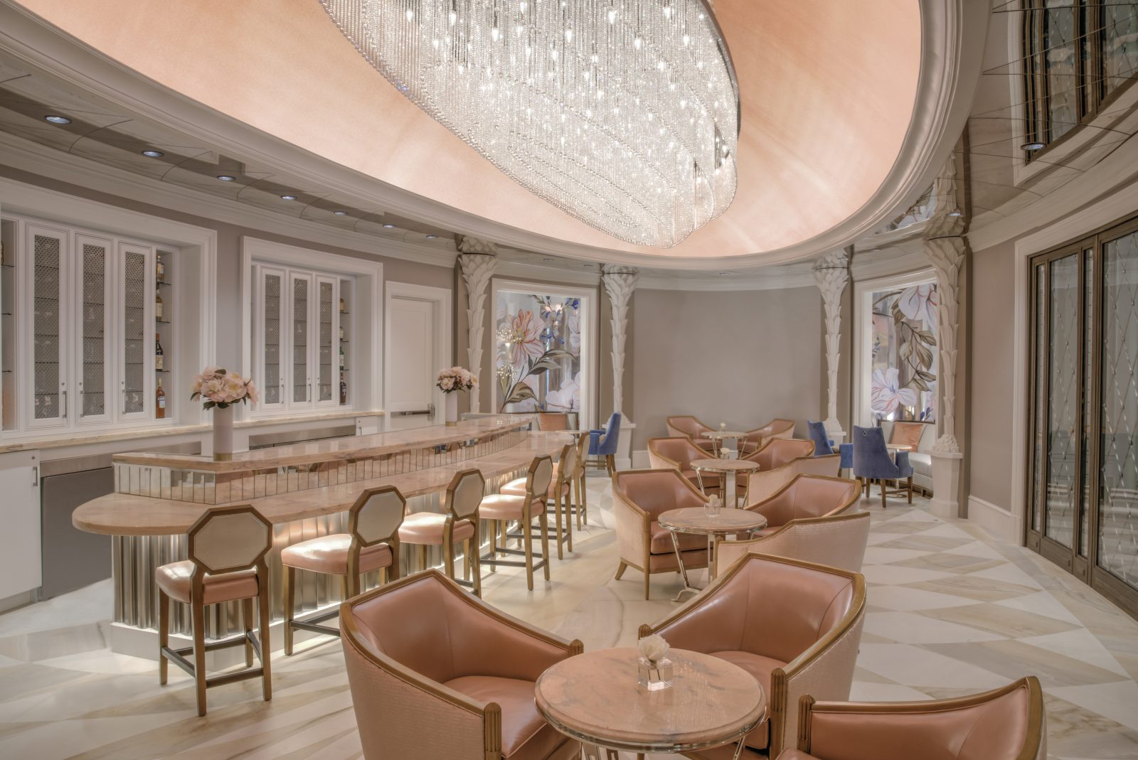 Hotel Bennett Camellias champagne luxury lounge pink room chandeliers