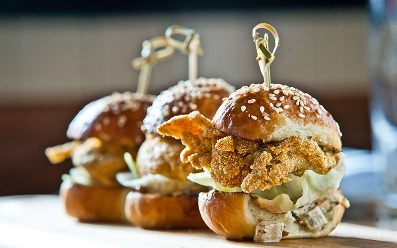 Oyster sandwiches at The dutch at the W hotel in the gulch in downtown nashville