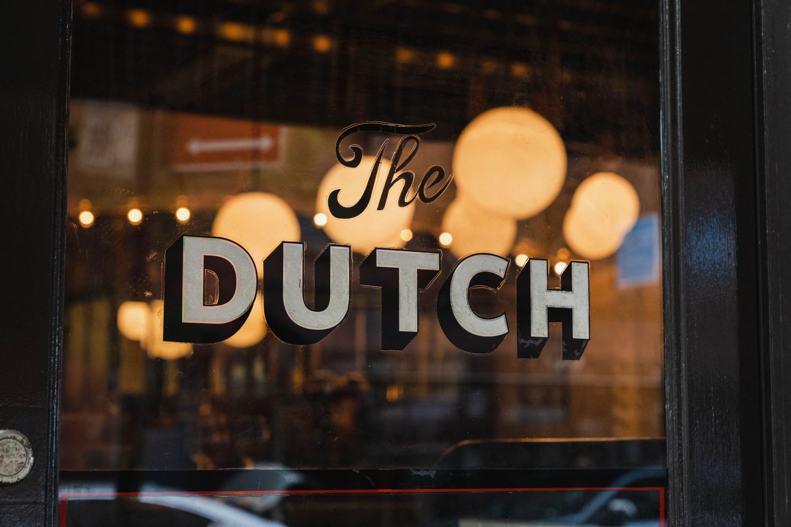 The Dutch Restaurant sign and logo featured with background lighting. Picture featured in the online Nashville magazine editorial: The Nashville Edit