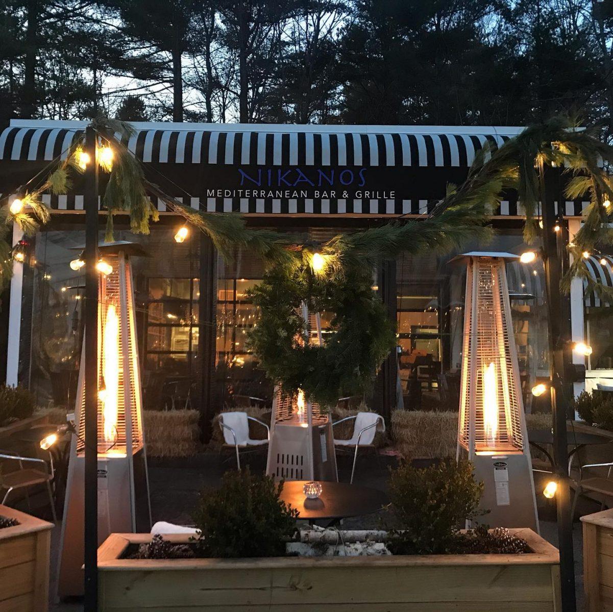 Nikanos Mediterranean Bar & Grille, Ogunquit, Maine outdoor dining greek food fireplace