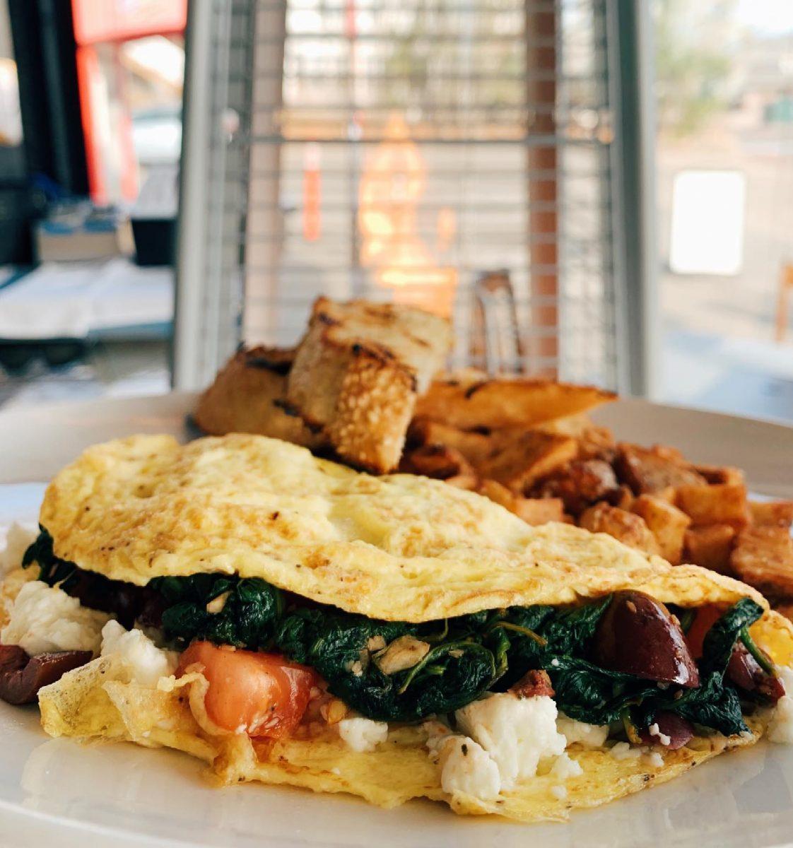 spinach omlet Nikanos Mediterranean Bar & Grille, Ogunquit, ME greek food