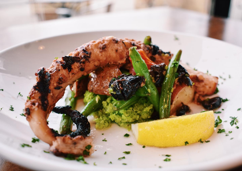 grilled octopus Nikanos Mediterranean Bar & Grille, Ogunquit, Maine greek food