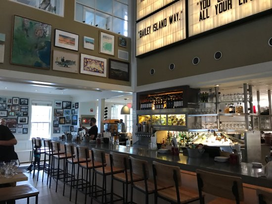 indoor dining at the bar at Lighthouse in maine at Robert's Maine Grille & Raw Bar, Kittery, Maine
