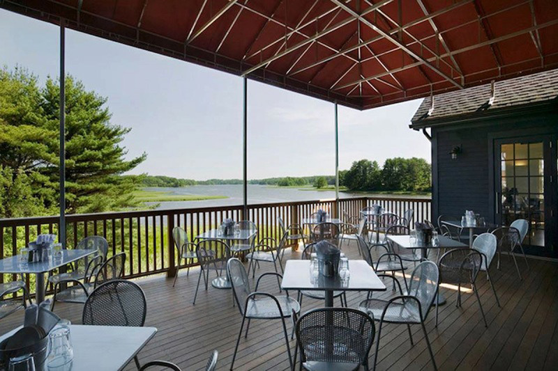 outdoor dining at Lighthouse in maine at Robert's Maine Grille & Raw Bar, Kittery, Maine