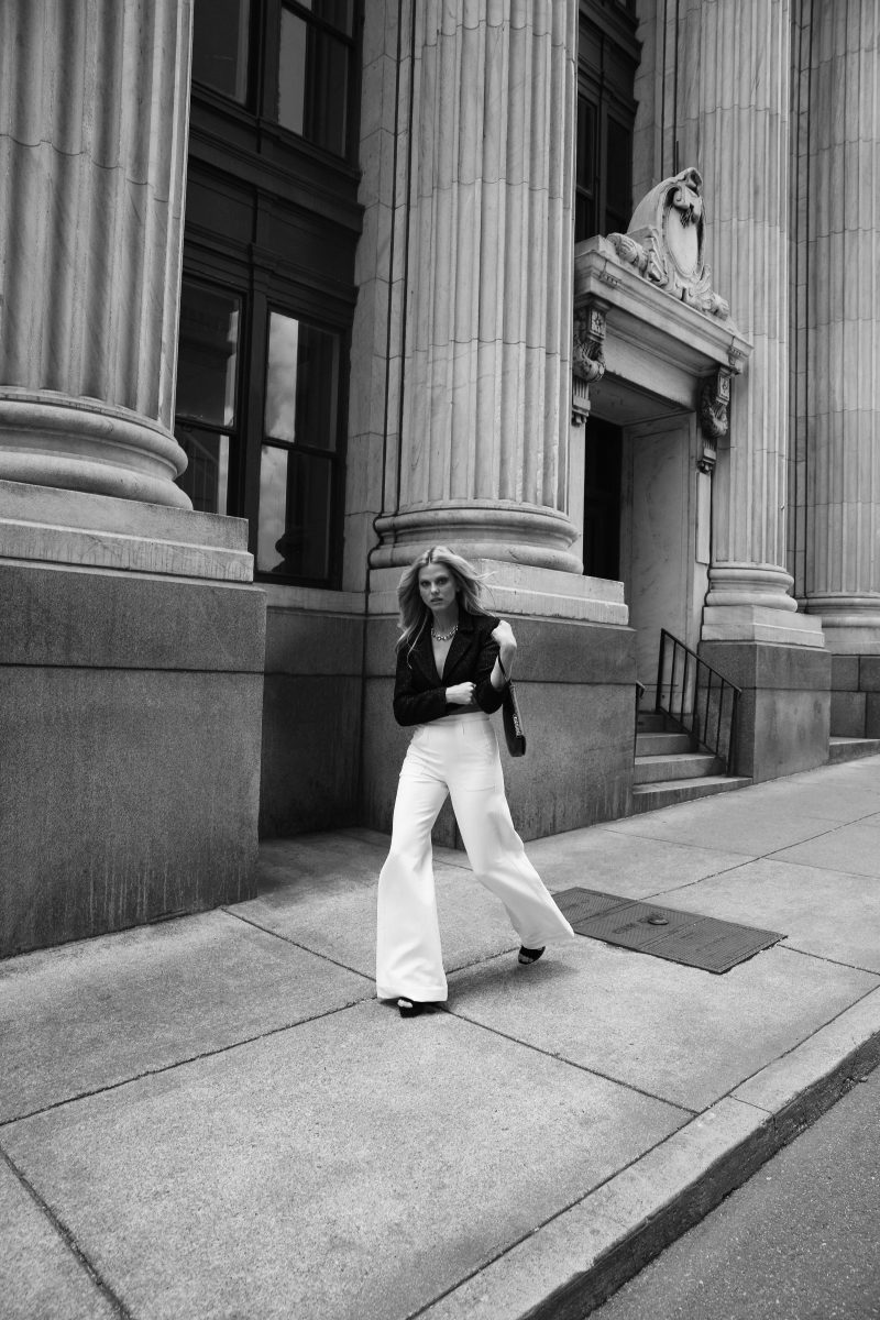 Scarlett Burke for The Nashville Edit Fall 2021 Style Coco Jacket and Taylor Pant by Cavanagh Baker; Black lace bralet by Anine Bing; Silver Chunky Chain Link Choker by Clara Williams from Gus Mayer; Photo by Alaina Mullin