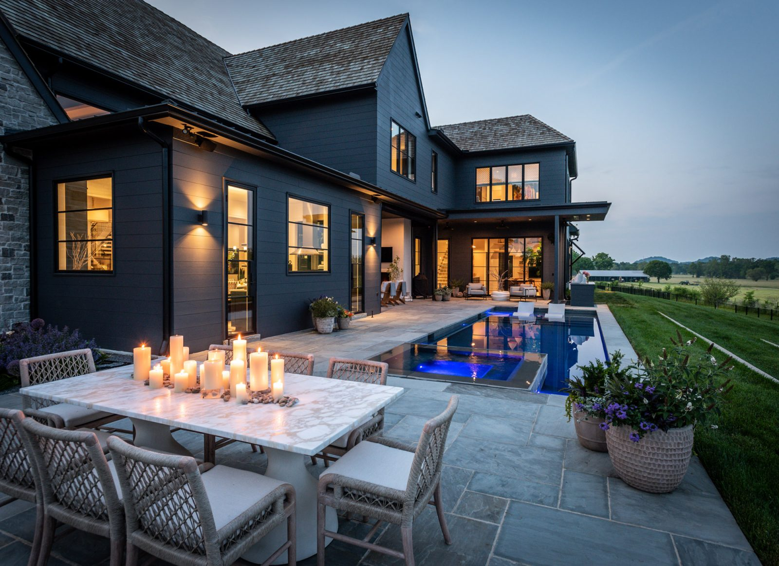 outdoor dinner table rondo pool backyard inspiration Covered patio outdoor design by marie-joe bouffard of jfy designs
